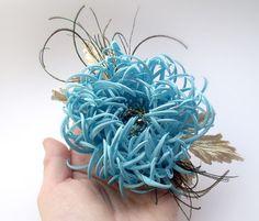 Chrysanthemum fabric, chrysanthemum handmade blue flower, hair clip, flower fantasy,