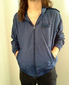 *SOLD* Vintage 'Members Only' Jacket Blue-Gray Men's Vintage Three Eagles Size XL
