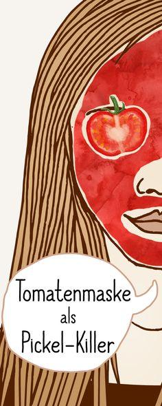 Tomaten-Maske - die Wunderwaffe gegen Pickel: Einfach Tomaten pürieren mit Honig vermengen und auftragen. #gesichtsmaske #gegenpickel #gegenmitesser # hilfebeipickel
