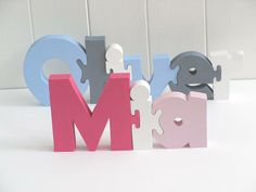 Freestanding Name Puzzle - baby & child Puzzle Crafts, Letter A Crafts, Router Projects, Wood Projects, New Baby Gifts, Gifts For Kids, Name Puzzle, Wooden Alphabet, Wooden Names