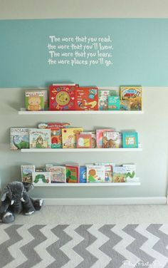 Perfect reading area for the classroom, between the kids desks using. Ikea shelves and a cute Dr. Seuss quote from playpartypin.com
