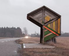 These are not your standard photo subject and Soviet-era bus stops can be bloody hard to find. They may be visible from the road, but these bus stops sit on some very remote roads! Bus Stop Design, Bus Shelters, Shelter Design, Der Bus, Grand Format, Bus Station, Urban Furniture, Public Art, Dares
