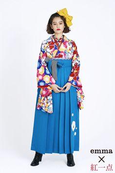 レトロ柄 袴 青色 商品画像1