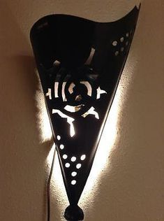 Moroccan Rustic Black Wrought Iron Tin Wall Light Sconce Conical