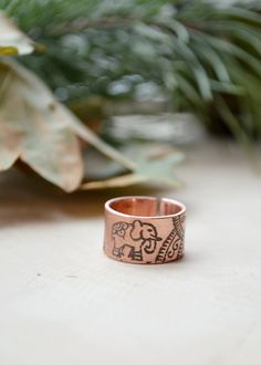 Elephant Ring, Indian elephant pattern, girl totemic ring, mehendi style jewelry, women statement copper big finger ring, Personalized band by TerrasChains on Etsy
