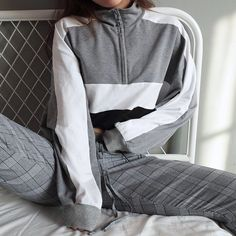dcf8bf048fd cool cropped colorblock color blocked gray grey white black zip up  adjustable crop cropped sweater sweatshirt