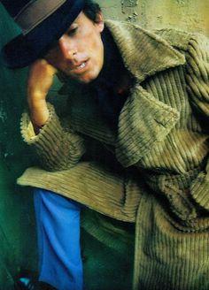 'The male peacock' Green corduroy maxi coat, burgundy cire shirt, from In for Men shops. Frank Tisdale hat. POL magazine #7 vol 2 1970 (Australia) (please follow minkshmink on pinterest) #malepeacock #seventies #menswear #corduroy