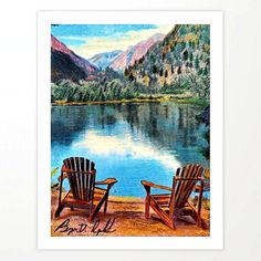 'Sit & Breathe' Adirondack Chair Original Art - Mountain Lake Wall Decor Stationery Cards by darkmountainarts Beach Wall Decor, Frame Wall Decor, Wall Art Decor, Dark Mountains, Pastel Walls, Mountain Art, Mountain Landscape, Oversized Beach Towels, Canvas Prints