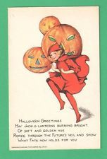 RARE VINTAGE TUCK SCHMUCKER HALLOWEEN POSTCARD GIRL RED HOODED CAPE JOLS SER.100