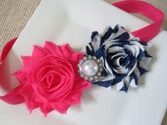 hot pink and navy blue baby headband hot pink by hartsandflowers, $7.75