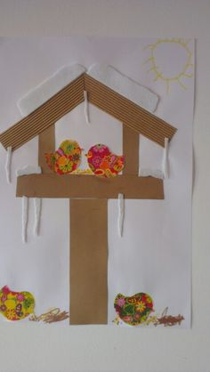Àron madàr etető---- good sensory winter craft idea- love the different use of textures