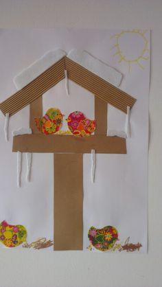 Àron madàr etető---- good sensory winter craft idea- love the different use of textures