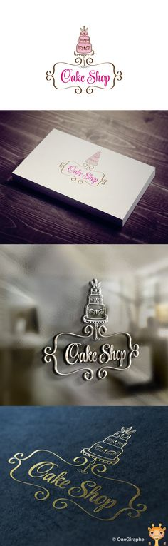 'CAKE SHOP' LOGO - I like the font and the way and the cake image work together and it's ability to be used without colour to watermark. Not completely in love with it but like the idea. Cake Branding, Cake Packaging, Branding Design, Bakery Business Cards, Cake Business, Cake Logo Design, Bakery Design, Logo Dulce, Logo Patisserie