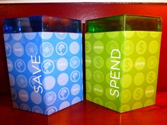 Save and Spend Tin Coin Banks  Vintage Savings by ChicAvantGarde, $8.00