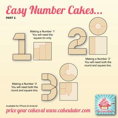 Number cakes with instructions - using round pans and a square.