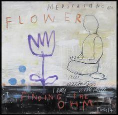 Troy Henriksen - Meditation on a flower - Acrylique et mixte sur toile - 100 x 100 cm - 2014 - Galerie W - Galerie d'Art contemporain à Paris #galeriew #gallery #w #gallery w #troy-henriksen @galeriew