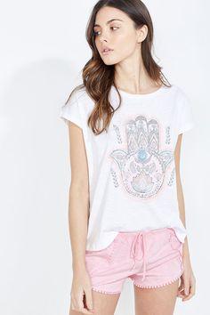 Womensecret Pijama corto de algodón con mano de Fátima estampado