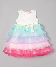 Look what I found on #zulily! White Rainbow Tiered Ruffle Dress - Toddler & Girls by Paulinie #zulilyfinds