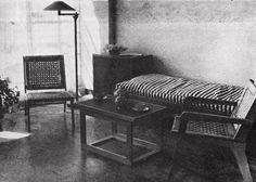 Muebles diseñados para los interiores del Multifamiliar Miguel Alemán, México DF, 1949  Diseños de Clara Porset -  Various furniture designed for living in the Multifamiliar Miguel Aleman, Mexico City, 1949