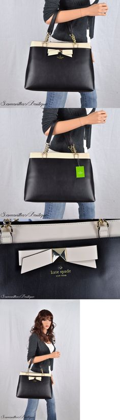 Women Handbags and Purses: Nwt Kate Spade Black Beige Leather Maryanne Shoulder Bag Satchel Purse Handbag BUY IT NOW ONLY: $258.0