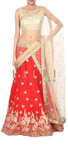 Buy Online from the link below. We ship worldwide (Free Shipping over US$100) Price- $979 Click Anywhere to Tag http://www.kalkifashion.com/red-lehenga-adorn-in-zari-and-sequin-embroidery-only-on-kalki-21851.html