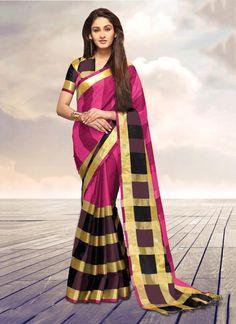 Versatile Cotton   Pink Designer Saree