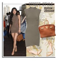 """""""Street Style: Kylie Jenner"""" by hamaly ❤ liked on Polyvore featuring Hermès, Stuart Weitzman, GetTheLook, StreetStyle, KylieJenner, bandagedress and waystowear"""