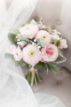 chic pink wedding bouquet; photo: Craig and Eva Sanders Photography