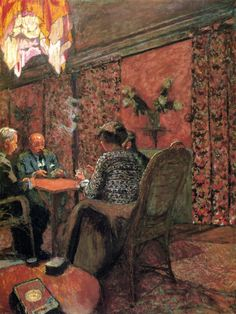 jean-édouard vuillard(1868-1940), the game of bridge - the salon at the clos cêzanne, 1923. distemper on canvas, 100 x 76 cm. private collection http://www.the-athenaeum.org/art/detail.php?ID=54928
