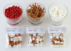 love this as a treat - red candies, pretzels & mini marshmallows become rat eyeballs, spider legs & ghost poop!  There is a treat topper printable (I save it already - note to self).