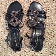 Black dressy sandals Black blingy sandals. Worn once Rampage Shoes Sandals