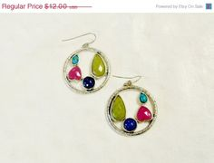 Vintage Earrings Multi Color Silver Tone by YoursOccasionally, $10.20