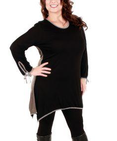 Look at this #zulilyfind! Black Stripe-Trim Wrist-Tie Tunic - Plus #zulilyfinds
