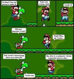 Haha I always felt bad ditching Yoshi! Mario Funny, Geek Out, Super Smash Bros, Mario Bros, How I Feel, Super Mario, Funny Images, Yoshi, Make Me Smile