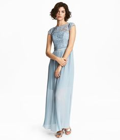 Check this out! Maxi dress with a satin-lined lace bodice with boning at sides and back. Boat neck, cap sleeves, seam at waist with grosgrain ribbon, and concealed side zip. Pleated skirt with satin lining. - Visit hm.com to see more.