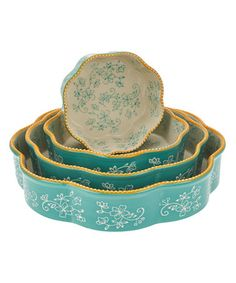 Love this Teal Floral Lace Four-Piece Nested Cake Pan Set on #zulily! #zulilyfinds