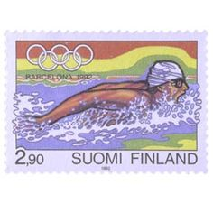 Postimerkki: Olympiakisat Barcelonassa 1992 | Suomen postimerkit Postage Stamps, Barcelona, Baseball Cards, Seals, Finland, World, Barcelona Spain, Stamps