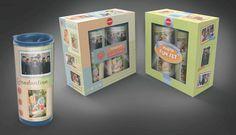 Crafty fun: Copco Scrapbook and Photo Fun Create-A-Mug thermal Mug sets package designs and execution.