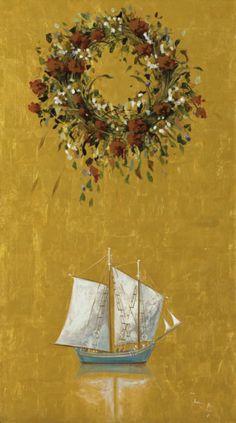 Hellas Inhabitants Of The Shiny Stone — Meagre wreath and ship by Spyros Vassiliou. Greece Painting, Classical Period, Greek Art, Naive Art, Artist Art, Urban Art, Art World, Crochet Flowers, Flower Art