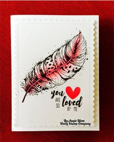 "BRAND NEW on the UNITY Website!  Created by Angie Blom.  This kit contains 4 stamps.  Feather on left measures approximately 2.25"" x 4"".  Feather on right measures approximately 1.75"" x 4.5"".  ""You are so loved by me"" sentiment measures approximately 1"" x 1.5"".  ""I often think of you"" sentiment measures approximately .75"" x 1.75"".  All Unity Stamps are pre-cut, mounted on cling foam and ready to use right out of the package – you can mount our stamps on any acrylic block.    Unity is known…"