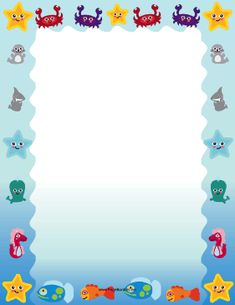 Sea life such as crabs, starfish, seals, and sharks decorate this printable ocea. - Different Ideas Page Boarders, Boarders And Frames, Page Borders Free, Preschool Poems, Pretty Writing, Scrapbook Frames, Quilt Labels, Borders For Paper, Class Decoration