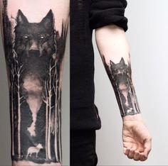 wolf tattoo design - 100 Forest Tattoo Designs For Men Masculine Tree Ink Ideas Body Art Tattoos, New Tattoos, Tattoos For Guys, Space Tattoos, Tatoos, Tattoo Ink, Tattoo Names, Mini Tattoos, Wolf Tattoos Men