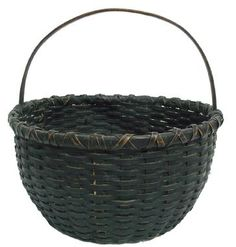 """19th original black painted Gathering Basket from West Virginia, double wrapped rim, good condition great surface 12 1/2"""" diameter x 12"""" tall"""