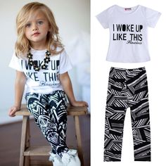 Girls Stripe I Woke Up Like This shirt and Pants Outfits Set 2 to 7 YEAR OLD