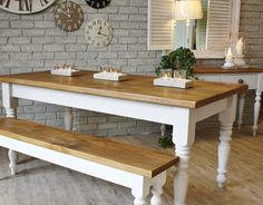white and cream farmhouse | White Cream Farmhouse Wooden Kitchen Tables with Candle Holders