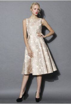 Fanciful Rose Intarsia Prom Dress in Champagne - Dress - Retro, Indie and Unique Fashion