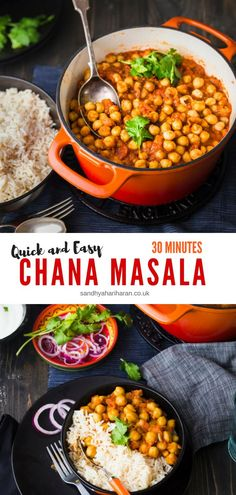 Quick and Easy Chana Masala. You are really going to love me for this 30 minutes curry recipe,  every-time you make it!! Serve this Vegetarian Chickpeas Curry along with Rice & Roti. #indiancurry #chickpeas #30minutes #vegancurry #easy #chanamasala