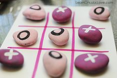 Make your own outdoor games. Painted Rock Tic Tac Tow