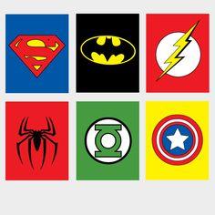 Cute Superhero wall printables for kids room.
