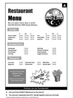 Restaurants, Restaurant Menu, English, Learning English, Vocabulary, ESL, English Phrases, http://www.allthingstopics.com/restaurants.html